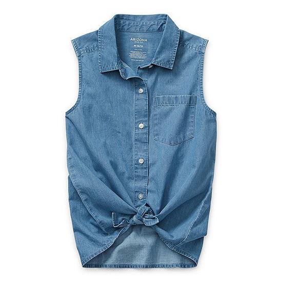 Arizona Little & Big Girls Sleeveless Button-Down Shirt
