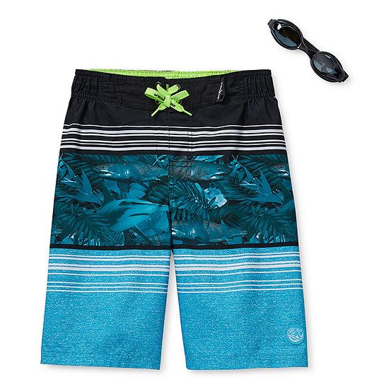 Zeroxposur-Big Kid Boys Waves Swim Trunks & Goggle Sets