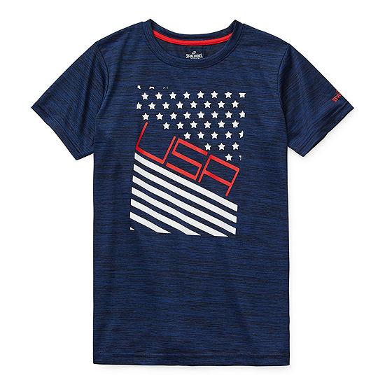 Spalding Americana Big Boys Crew Neck Short Sleeve Graphic T-Shirt