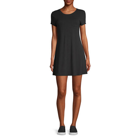 Arizona-Juniors Short Sleeve Swing Dresses, X-small , Black