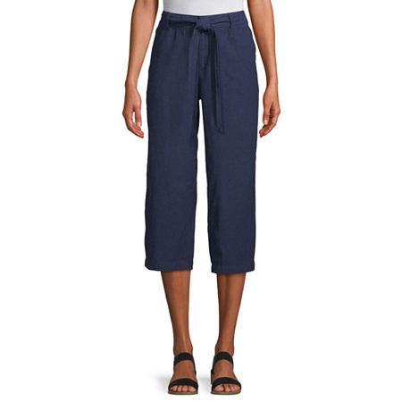 Liz Claiborne Belted Cropped Pants, X-small , Blue