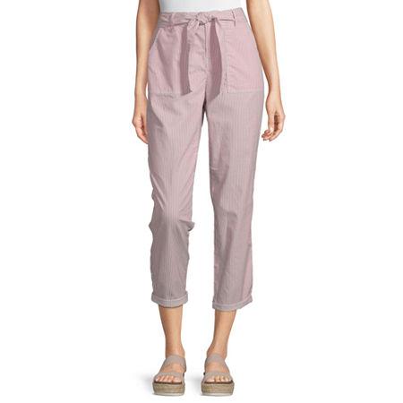 Liz Claiborne Belted Cropped Pants, 8 , Beige
