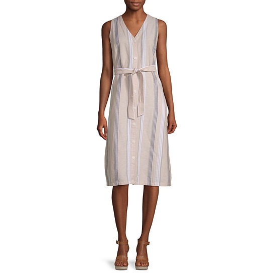 Liz Claiborne Sleeveless Striped Midi A-Line Dress