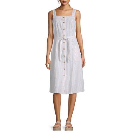Liz Claiborne Sleeveless Striped A-Line Dress, Xx-large , Beige