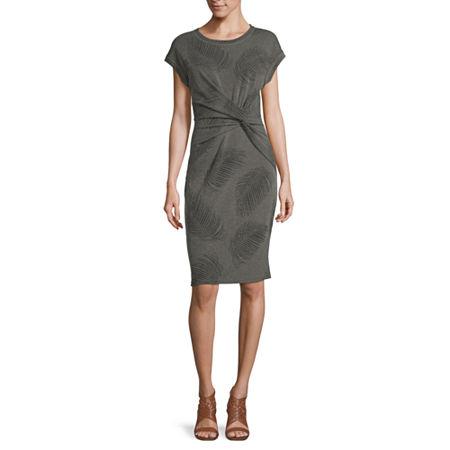 Liz Claiborne Short Sleeve Floral A-Line Dress, Xx-large , Green