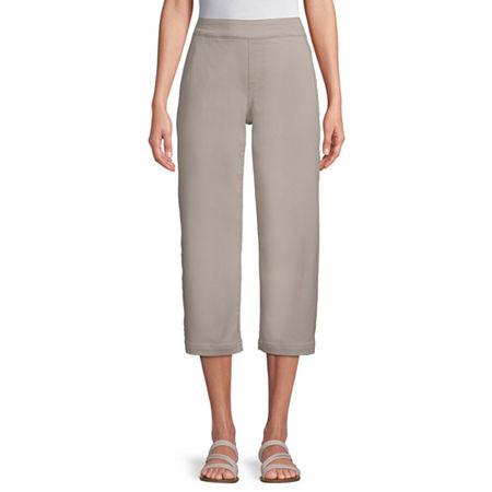 Liz Claiborne Womens Wide Leg Pull-On Pants, 4 , Beige