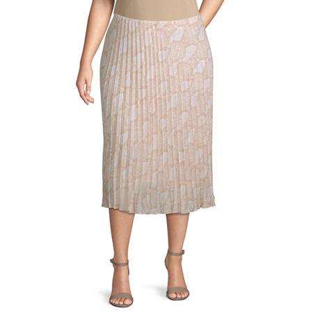Worthington Womens Pleated Midi Skirt - Plus, 0x , White