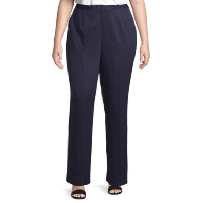 Alfred Dunner-Plus Ship Shape Womens Straight Flat Front Pant