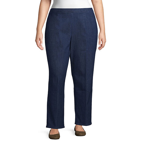 Alfred Dunner-Plus Panama City Womens Straight Flat Front Pant