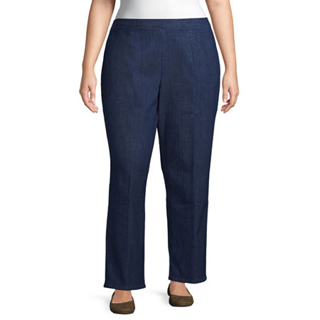 Alfred Dunner-Plus Panama City Womens Straight Flat Front Pant, 16w , Blue