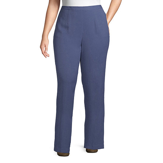 Alfred Dunner-Plus Short Palo Alto Womens Straight Flat Front Pant