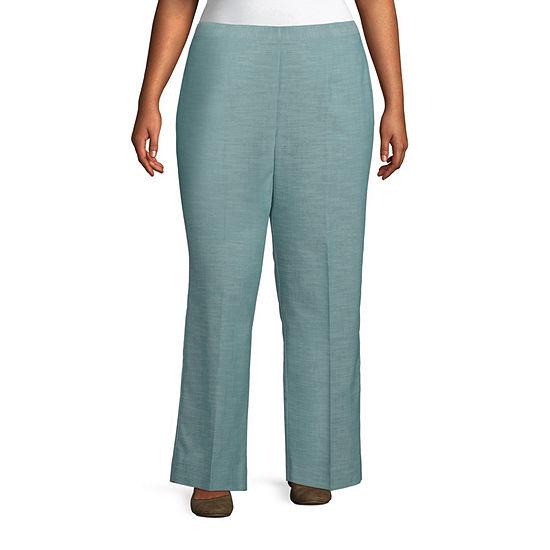 Alfred Dunner-Plus Short Desert Oasis Womens Straight Flat Front Pant