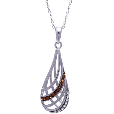 Silver-Plated Brown Crystal Teardrop Pendant