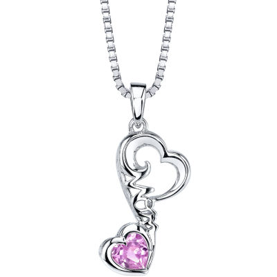 Love Grows Womens Pink Sapphire Pendant Necklace