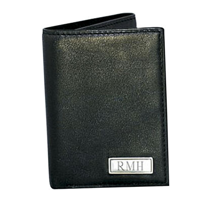 Leather Trifold Wallet with Engravable Plaque