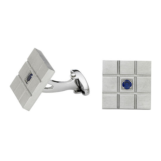 Grid Pattern Cuff Links with Blue Crystal Accent