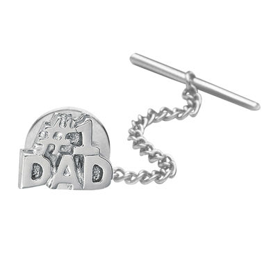 #1 Dad Rhodium-Plated Tie Tack