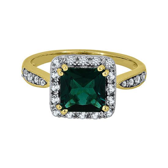 Lab-Created Emerald & White Sapphire 14K Yellow Gold over Silver Ring