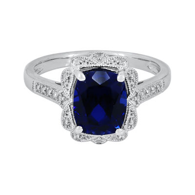 Lab-Created Blue Sapphire Sterling Silver Ring