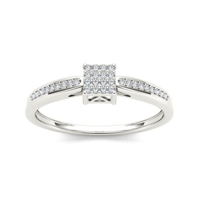 1/10 CT T.W. Diamond 10K White Gold Engagement Ring