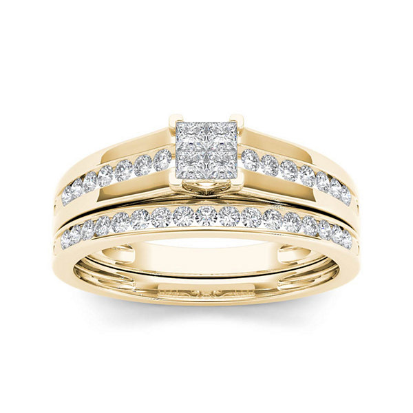 1/2 CT. T.W. Diamond 10K Yellow Gold Bridal Set Ring