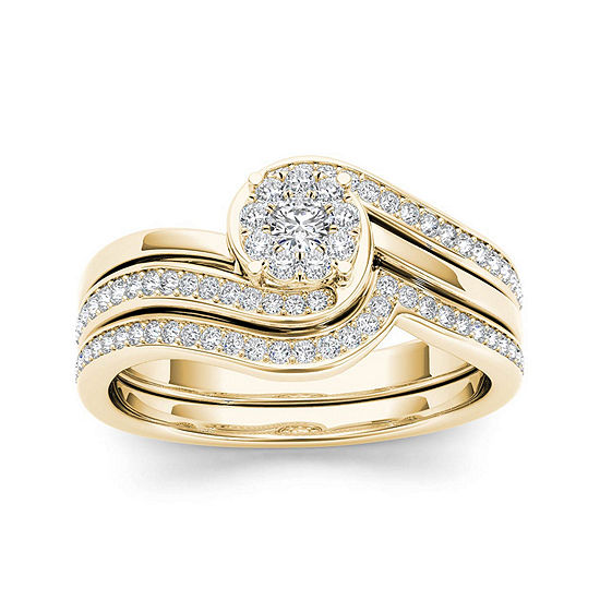 1/2 CT. T.W. Diamond 10K Yellow Gold Swirl Bridal Ring Set