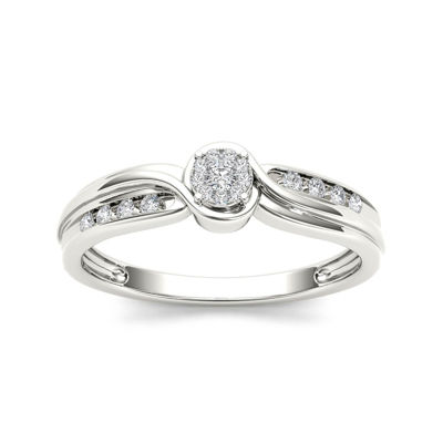 1/10 CT. T.W. Diamond 10K White Gold Engagement Ring