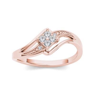 1/10 CT. T.W. Diamond 10K Rose Gold Engagement Ring