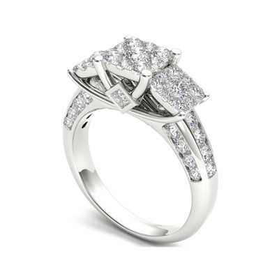1 1/2 CT. T.W. Diamond Cluster 10K White Gold Engagement Ring