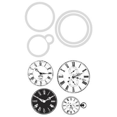 Vintage Clocks Dies and Stamps Kit