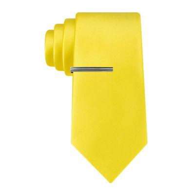 JF J. Ferrar® Slim Satin Solid Tie and Tie Bar Set - Slim