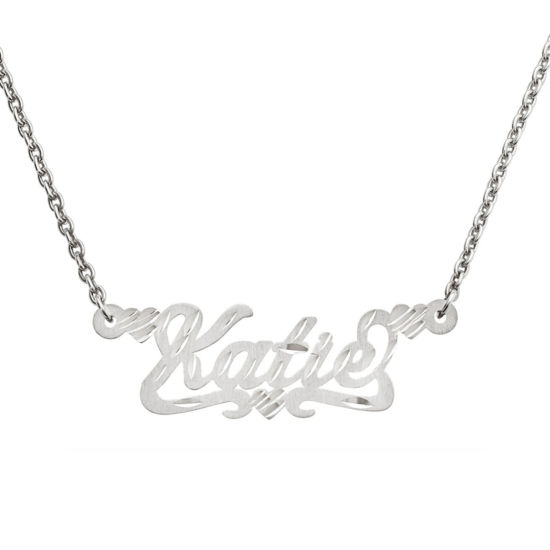 Personalized 12x36mm Satin Diamond-Cut Name Necklace