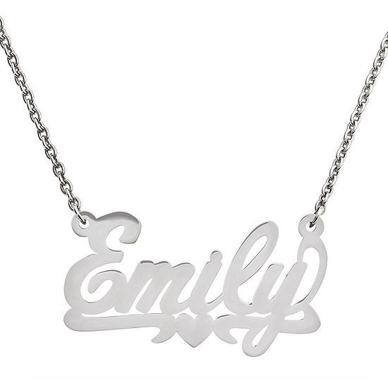 Personalized 20x34mm Polished Heart Name Necklace