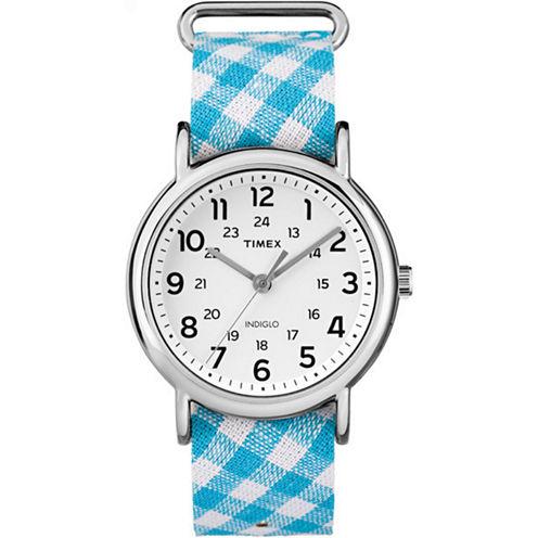 Timex Weekender Womens Blue Strap Watch-Tw2r24400