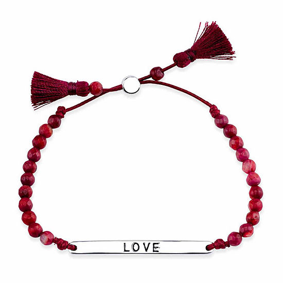 Bridge Jewelry Red Silver Tone Beaded Bracelet