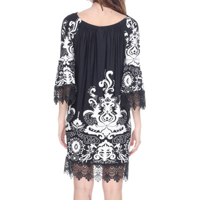 White Mark Uniss 3/4 Sleeve Paisley Sheath Dress