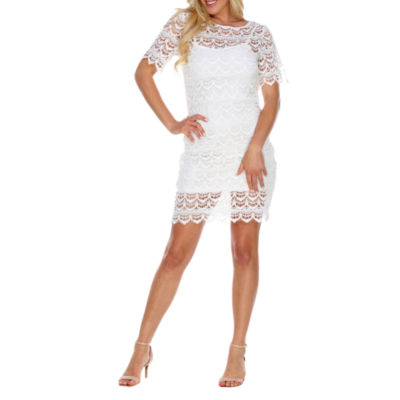 White Mark Aria Short Sleeve Ombre Sheath Dress