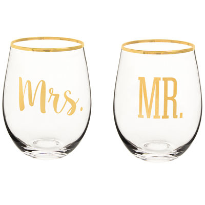 Cathy's Concepts Mr. And Mrs. 2-pc. Wine Glass