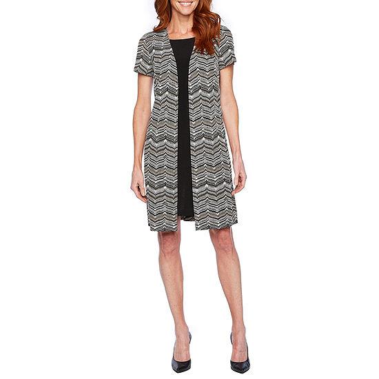Perceptions Short Sleeve Faux Puff Print Jacket Dress