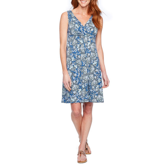 St. John's Bay Sleeveless Paisley A-Line Dress