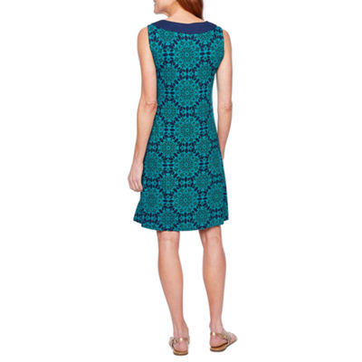 St. John's Bay Sleeveless Medallion Shift Dress