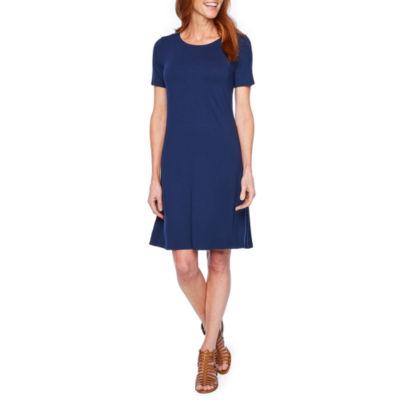 St. John's Bay Short Sleeve A-Line Dress