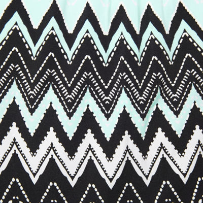 Robbie Bee Short Sleeve Chevron A-Line Dress-Petite