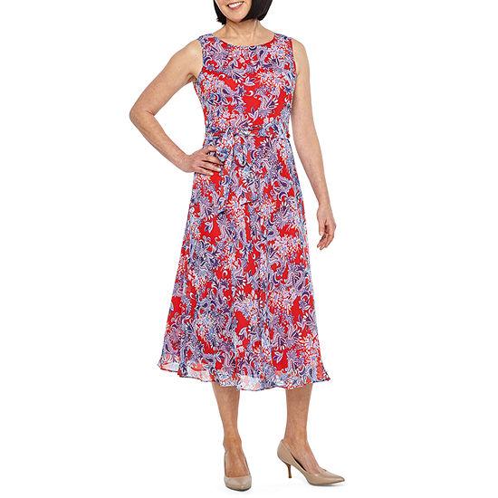 Black Label by Evan-Picone Sleeveless Floral Midi Wrap Dress