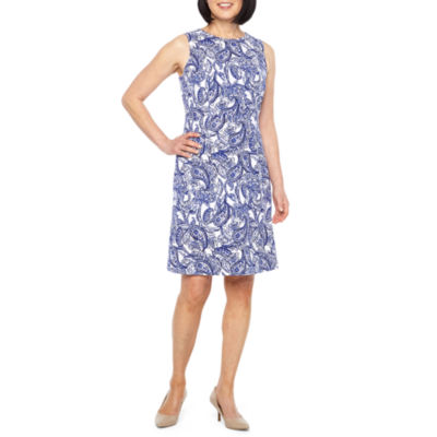 Black Label by Evan-Picone Sleeveless Paisley Shift Dress