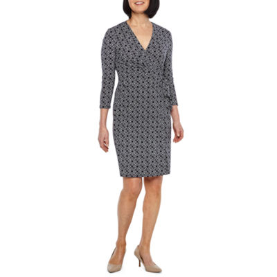Black Label by Evan-Picone 3/4 Sleeve Medallion Wrap Dress