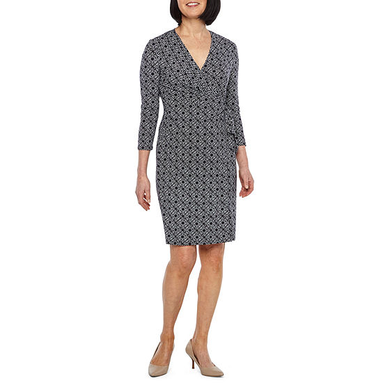 106f1f1b30 Black Label by Evan-Picone 3 4 Sleeve Medallion Wrap Dress - JCPenney