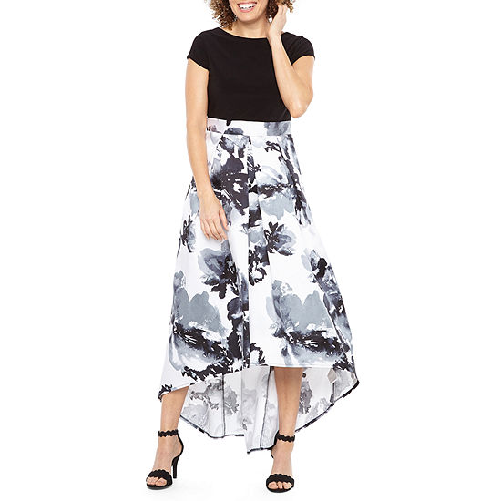 Blu Sage Short Sleeve High Low Evening Gown