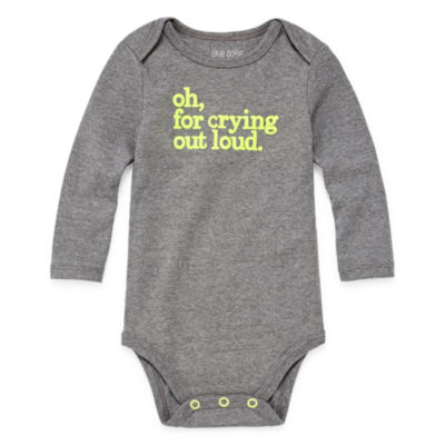 "Okie Dokie ""Oh, For Crying Out Loud"" Long Sleeve Slogan Bodysuit - Baby NB-24M"