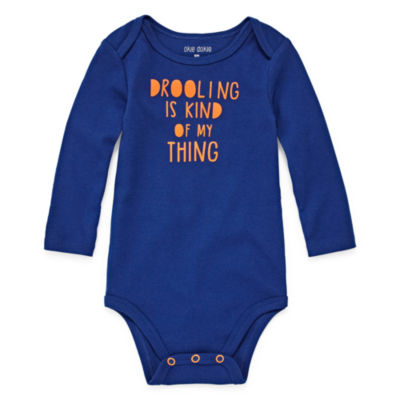 "Okie Dokie ""Drooling Is Kind of My Thing"" Long Sleeve Slogan Bodysuit - Baby Boy NB-24M"